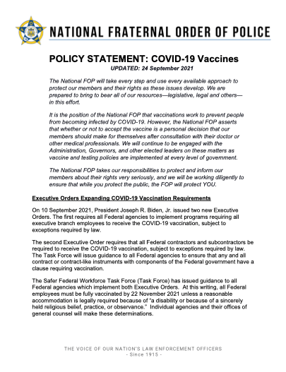 NFOP Policy Statement: COVID-19 Vaccines Updated September 24, 2021