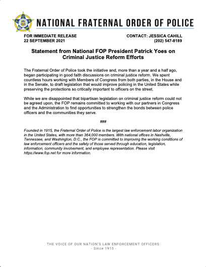 Statement from National FOP President Patrick Yoes on Criminal Justice Reform Efforts